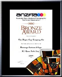 "TPCC proudly won ANZFTA Top Award in ""Beverage Cartons & Cups Halftone"" in 2009 - Bronze_Award_ElGran12oz"