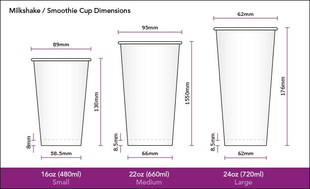 Milkshake Smoothie Cup 16oz 22oz 24oz Dimensions